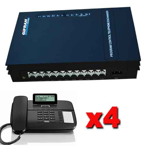 Kit Centralino telefonico PABX 3 linee esterne 8 interni